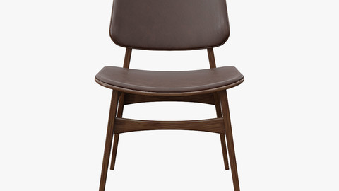 Soborg Chair Model-3052-leather 96 and oak smoked Low-poly 3D model