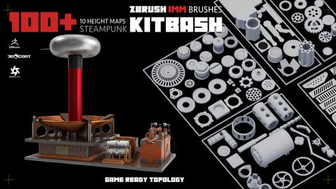 100+ Steampunk KITBASH PACK (Zbrush IMM Brushes) Game ready topology