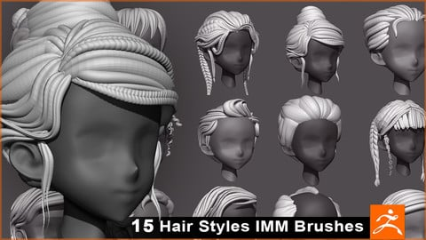 ZBrush IMM Stylized Hairstyle Brush