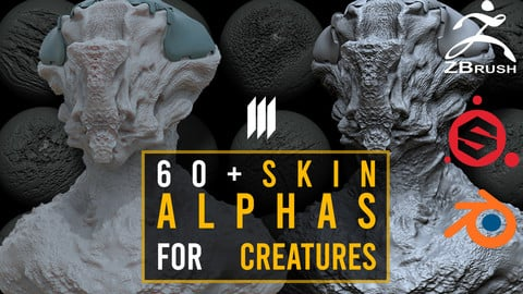 60 Skin Alphas For Creatures / Zbrush / Substance Painter / Blender