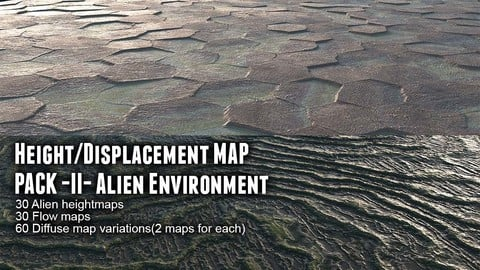 Height/Displacement map pack II Alien Environment