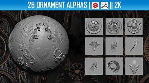 26 Ornament Alphas (ZBRush, Substance, 2K)