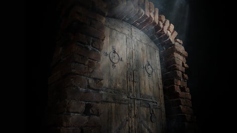 Old Medieval Door with an Arch (Low-poly, Game-ready 3d model)