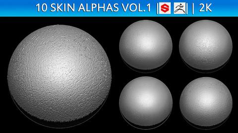 10 Skin Alphas (ZBRush, Substance, 2K)