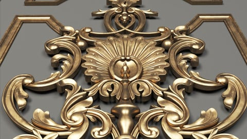 luxury ornaments + gold material (3dsmax + vray)