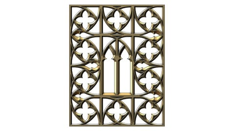 Gothic Ornament pannel for plaster and wood working for 3Dprinting and cnc models