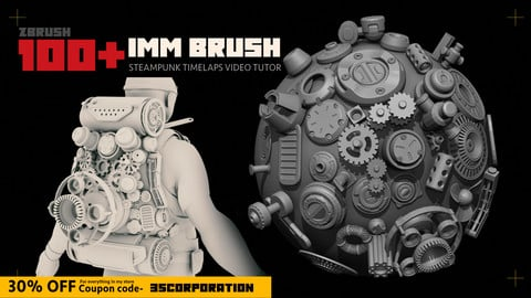 100 IMM brushes for Surface detalization (Game ready topology )