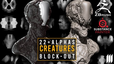 22 Alphas For Creatures/Monsters BlockOut
