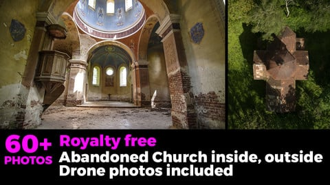 Abandoned church inside and outside. With green grass and bushes. Drone photos included.
