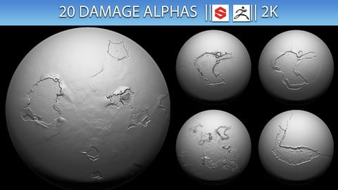 20 Damage Alphas (ZBRush, Substance, 2K)
