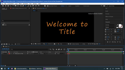 1:30 After Effects Template Reel
