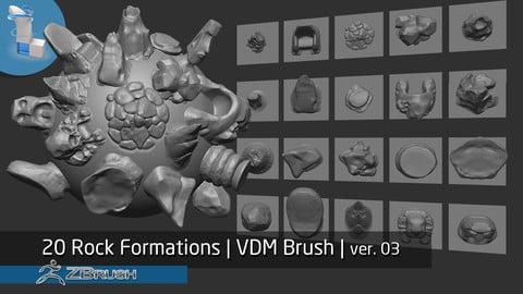 Zbrush | 20 Rock Formations v3.0 | VDM Brush