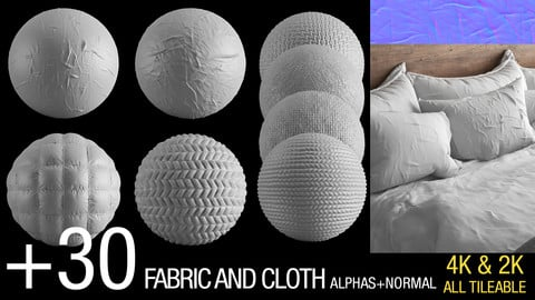 +30 fabric and wrinckle ALPHAS+NORMAL v2 (4K&2K ,All tileable)