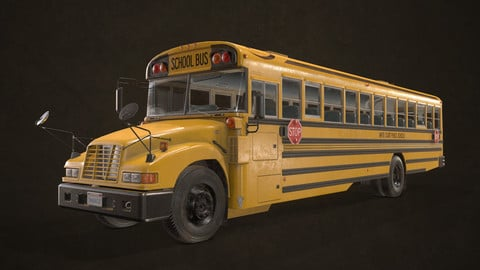 School Bus - Low Poly