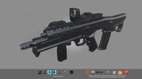 Low-poly Rifle 3D model