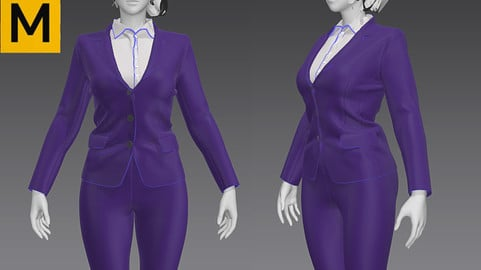 Marvelous Designer,Clo3d project,Women_s_working_suit/bussiness suit/pants