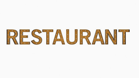 Restaurant Sign With Bulb