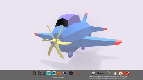 Low Poly stylized aircraft 3d model