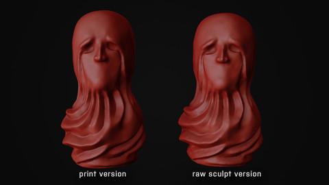 Sculpted Desperate Head for 3D Prints