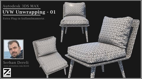 3dsMax Uvw_Unwrapping Armchair Tutorial (real time-1 hour-no extra plug-ins)