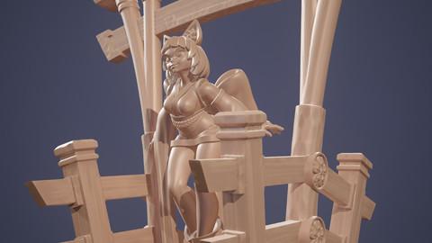Neko Priestess 3D Print 32mm Mini