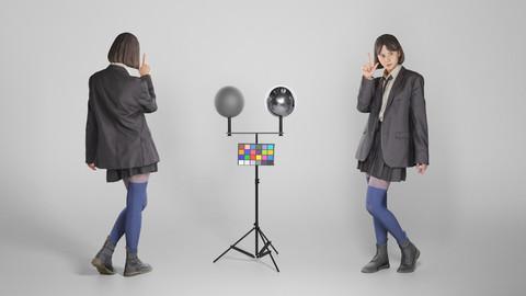 Playful girl in school uniform posing 183