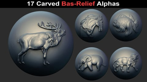 17 Animal/Nature Bas-Relief Alphas