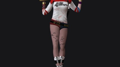 Harley Quinn Suicide Squad Model Printing Miniature Assembly File STL-OBJ for 3D Printing two size 1: 4 for FDM-FFF 1: 10 for DLP-SLA-SLS