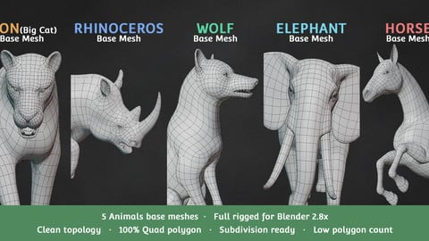 Base Meshes Animal Starter Kit 1 + Rig
