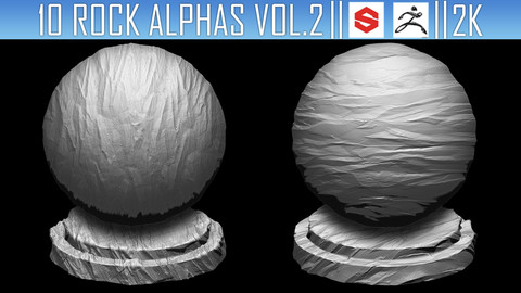 10 Rock Alphas Vol.2 (ZBRush, Substance, 2K)