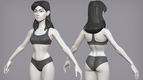 Cartoon female character Pietra base mesh