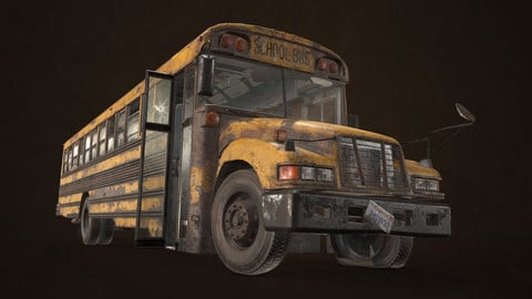 Abandoned School Bus - Low Poly