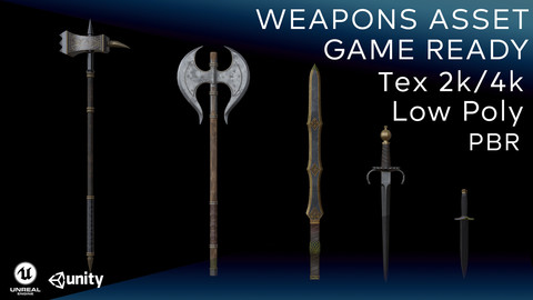 Weapons Asset (Low-poly, PBR, Game ready)