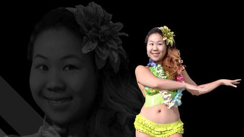 Female Scan - Lily Hawaiian Costume Low-poly 3D model