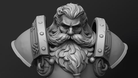 Stylized Dwarf Bust Statue 3D print model