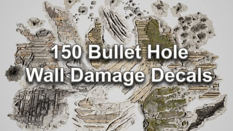 150 Bullet Hole Wall Damage Decals (UE4 Marketplace Link)