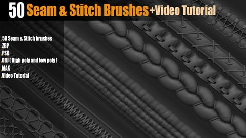 50 Seam&Stitch Brushes_Vol 01+ Video Tutorial
