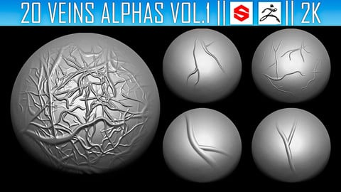 20 Veins Alphas Vol.1 (ZBRush, Substance, 2K)