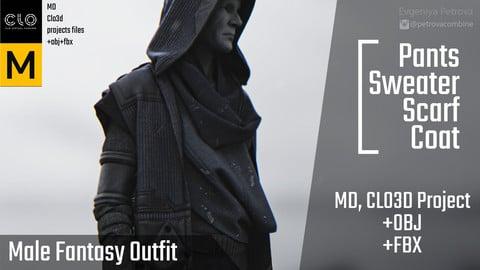 Marvelous Designer, Clo3d project+OBJ+FBX. Male fantasy outfit.