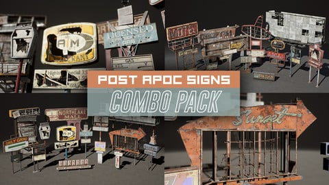 Post Apocalyptic Signs Props COMBO PACK (UE4)