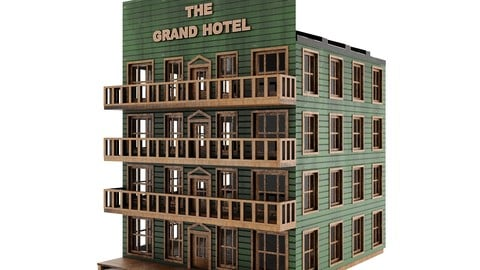 Hotel PBR - western town Low-poly