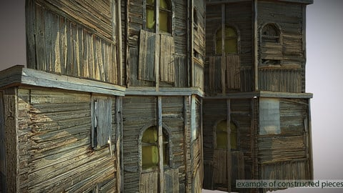 Decaying old modular wooden photorealistic wall VR / AR / low-poly 3d model