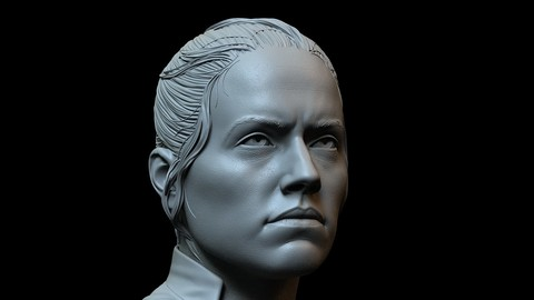 Rey Skywalker (Daisy Ridley) from Star Wars - 3d printable bust
