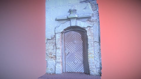 Old broken gate - door with relief decoration Low-poly