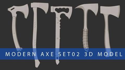 Modern Axe Set02 Highpoly 3D Model