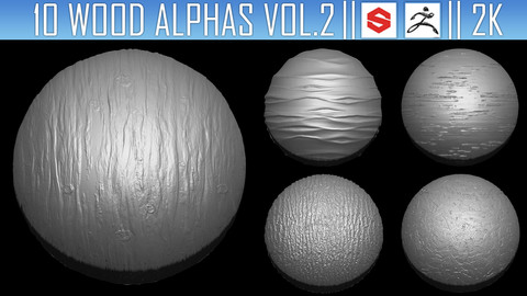 10 Wood Alphas Vol.2 (ZBRush, Substance, 2K)