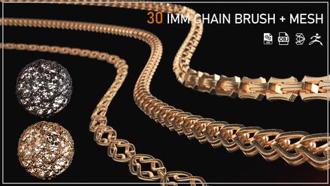 30 IMM CHAIN CURVE BRUSH (ZBRUSH.3DSMAX.MESH)