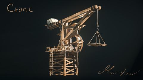 Crane Medieval Low Poly