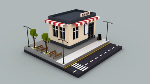 Coffee shop - Low poly