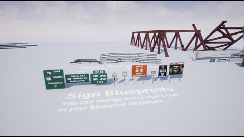 Highway Infrastructure Pack - Blueprint-Based Roads, Guardrails, Signs etc.